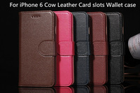 Luxury Business Genuine Cow Leather case for iPhone 6, Folio Stand Card slots Wallet Leather case with Gift package