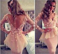 Fashion Pink Long Sleeve Mermaid Mini Appliqued Party Dress Vestidos De Noche E268