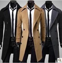 2014 men's premium brand winter warm long woolen cloth coat/Men's high quality long trench coat/Men's business coat(China (Mainland))