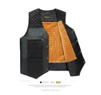 Middle-aged father autumn big yards plus velvet waistcoat vest waistcoat middle-aged men's leather stitching cotton vest