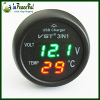 Free Shipping 12V/24V Digital Auto Car Thermometer+Car Battery Voltmeter Voltage Meter+car-mounted USB charger VST-706 Green LED