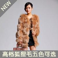 2015 new fashion imitation fox fur coat short paragraph long section of female coat. Free Shipping