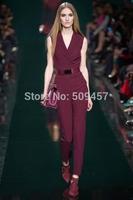 Luxury Hot!New Runway Summer Fashion 2014 Women Blazer Notched Collar Sleeveless Jumpsuit Bodysuits Belted Cotton Pants
