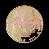 XDC0043 1 Oz Gold Clad Germany Coin Years 1936 Paul von Hindenburg Souvenir Gold Coin 24K Gold Plated Deutschland Round Coins