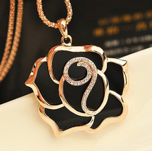 Rose flower long necklace /new 2014 korea Luxury  brand fashion jewelry  women accessories/colar/collier femme/colares longos