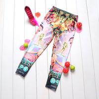 1041 Beautiful lady Digital Printing wholesale New 2014 School Child Legging Sports Pant Children Clothing Baby Girl Pants