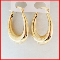 """MIN ORDER 10$/NEW LIGHT 2.7G 18K YELLOW GOLD GP SOLID OVERLAY EP OVAL HOOP TALL 1.3"""" EARRING/GREAT GIFT/"""