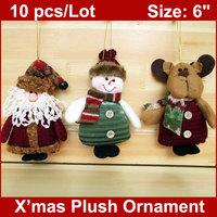 "10PCS/LOT  Christmas Stuffed Puppets 6"" Santa Claus Snowman Reindeer Xmas Plush Ornaments Wholesale"