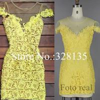 2014 Hot vestidos elegantes de renda femininos Yellow lace mini dress atacado roupas femininas vestido de festa curto de renda