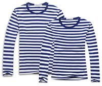 2014 Navy style autumn shirt long-sleeve T-shirt 100% cotton casual loose stripe navy t-shirt lovers long-sleeved shirt