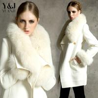 2014 fashion large fur collar woolen outerwear female long design plus size slim white woolen overcoat