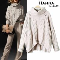 2014 Autumn Winter Fashion Turtleneck Collar Plus Women's Sweaters Knitted Outwear