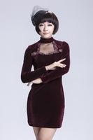 Free shipping Autumn Dark Blue Black Purple Women Solid Slim Fashion Pleuche Dress Long Sleeve Dress M/L/XL