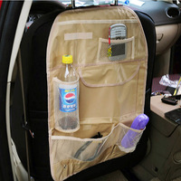 Car storage box collecting bag seat back black beige auto supplies multi-function free shipping waterproof cargo accessories new