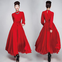 Wholesale Cheap Korean Nobility Retro Solid Color Long Sleeve Maxi Dress with Free shipping