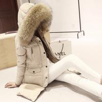 2014 winter women's large fur collar hooded down slim cotton-padded jacket outerwear thickening medium-long