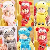 5Sets=10Piece Kids Beanies Hat Scarf Set Child Accessories New Knitted Winter Hat For Children Cap Earflap Christmas Gift  #1121