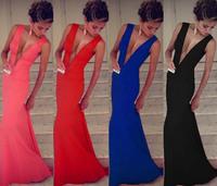 Noble Sexy Women Deep V Neck Plunge Bodycon Vest Slim Empire Floor Open Back Mermaid Maxi Long Party Evening Dress Vestidos