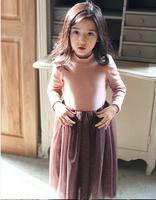 Wholesale 5pc/lot Fashion Winter Bried Turtle Neck Collar Cotton Fleece Girl Dress Thicken Children Dress Mid calf Kids dress