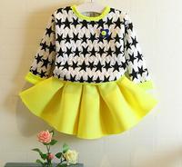 Free Shipping 5pc/ lot Fashion Long Sleeve Star Print Girl Sweatshirt + Yellow Skirt Children Pullovers Dress Set Girls sets