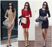 Hot Women's Elegant Long Slim Dress OL Style Long Sleeve Dress Cotton Knit Dress Tops More Colors Size XL Free Ship Xmas Gifts B