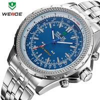 2014 Hot Sale Original WEIDE Military Men JAPAN Quartz LED Digital Movement 3ATM Analog Stainless Steel Watch Free Shipping