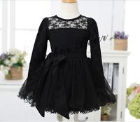 2014 New Design Long Sleeve Fashion Girl Lace Dress Kids Lace Dresses Clothes Black Wine