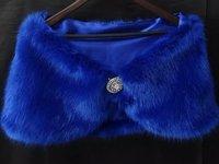 Custom made Noble Formal fashion Blue Wedding Accessories Faux Fur Bridal Shawls Wraps Bolero Party Prom Evening dress Jackets