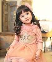 Korean Style 2014 Winter Fashion Turtle Neck Crown Thickening Girls Dresses Fleece Children's Dress Clothes Navy Pink