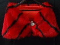 Custom made Formal Red black stripe Wedding Accessories Faux Fur Bridal Shawls Wraps Bolero Party Prom Evening dress Jackets