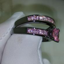 Victoria Wieck Noble Princess cut pink sapphire 10KT Black Gold Filled Band Ring Set Sz 5-11 Free shipping Gift(China (Mainland))