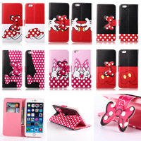 """Lovely Mickey Minnie Mouse Bowknot Dots Leather Case For iPhone 6 4.7"""" & 6 Plus 5.5"""" + Screen Protector Free Shipping"""