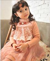 Wholesale Korean Style 2014 Winter Fashion Fur Turtle Neck Front Lace Girls Dresses Thicken Children's Dress Prince Dress Pink