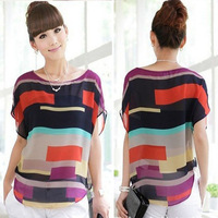 1PC Sexy Women Summer Perspective Casual Loose Chiffon Tops Blouses T-Shirt Free Shipping & Wholesales