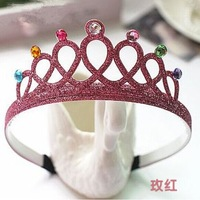 Free shipping Diamond Princess crown hoop with stereo shining color New Hair accessories headband for party queen hair products