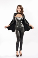 Fashionable Tight Two Tone Artificial Leather Women Batman Costume