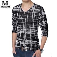 Plus Size 5XL New 2015 Spring Men's T Shirt Fashion Print  Long-sleeved T-shirt Slim Casual Men Clothing Camisetas Masculinas