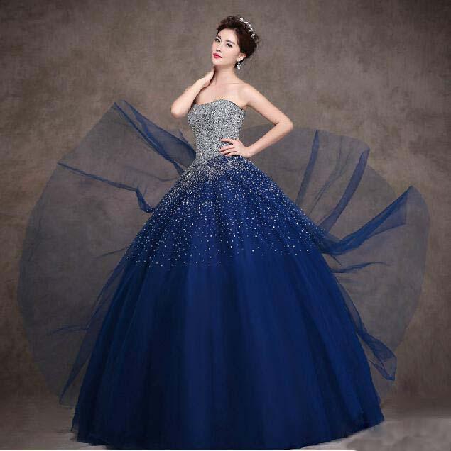 Aliexpress.com: Comprar Custom Made azul marino Tull vestido de ...