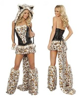 Women's Big tail Wolf  costumes Game Clothing  Halloween cosplay Christmas Castle Princess game clothing, leopard print dress