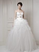 2015 New Arrival Floor Length sweetheart neck crystal sleeveless ball gown vintage wedding dress RTT-0257 winter dress vestido