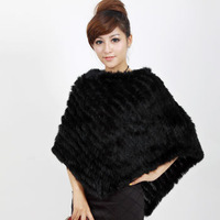 Free Shipping 2015 Women's Fur Cape Rabbit Fur Black Cappa Jacket Triangular Pullover outerwear