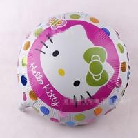Cartoon balloon circular KitI cat balloon aluminum film balloon helium balloon round white Hello Kitty automatic sealing