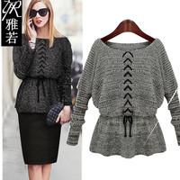 2014 autumn fashion long-sleeve sweater high quality slim waist rope women's sweater