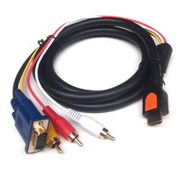 5FT 1.5M HDMI Male to 3RCA VGA Video Audio AV Cable