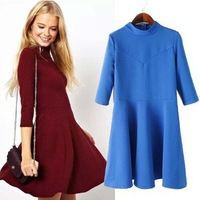 vestidos 2014 new summer fall long section High collar women casual dress sleeve soild color small grid dresses