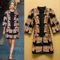 High Quality 2014 Fashion RunwayHeavy gold platter elegance large size women's windbreaker coat  Coat Overcoat Drop Shipping