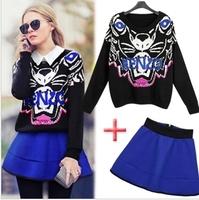2014 autumn and winter European Style Brand Designer women Tiger head loose sweater + waist tutu skirt suit women's sets