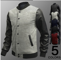 New Men Sweater PU Leather Collar Sweater Personalized Baseball Stitching Clothes Man Jacket Plus Size M-4XL Wine Red Navy