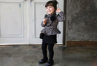 Wholesale 2014 New Winter Fleece Swallow gird One Piece Girl Dress with Necklace Thickening Girls Plaid Dresses For Kids Wear
