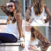 D Hot Women's Long Leopard Sleeve Casual Slim Sweatshirts Sweater hoodie Fall Warm Write T-shirt Tops Christmas Gift Free Ship